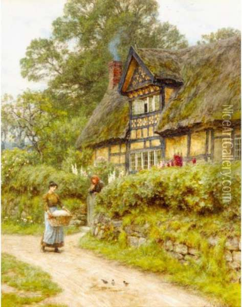 An Old Cheshire Cottage Oil Painting - Helen Mary Elizabeth Allingham