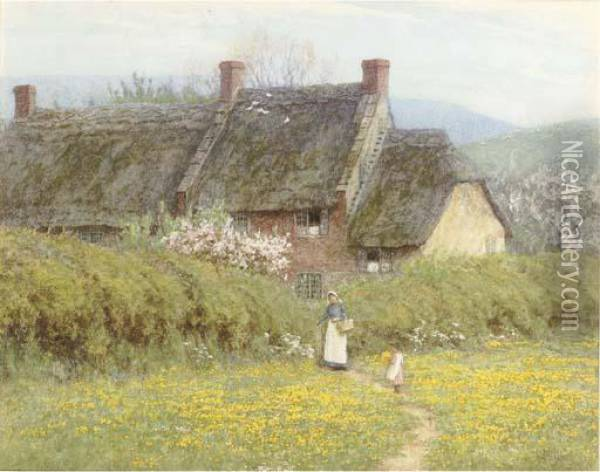 A Cottage With A Mother And Child, Near Bridport, Dorset Oil Painting - Helen Mary Elizabeth Allingham