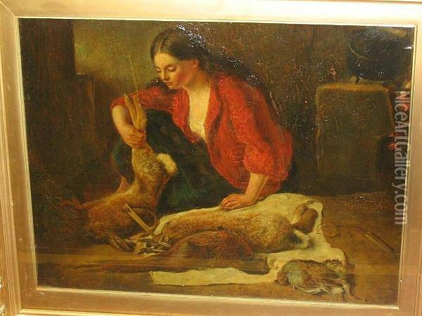 Woman Preparing Dead Game Oil Painting - Richard Ansdell