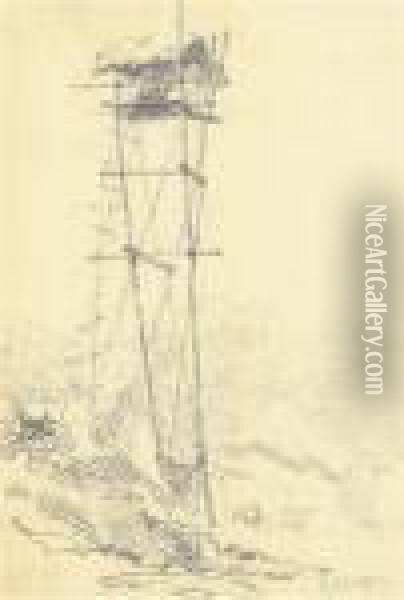 A Machan Or Watchtower Oil Painting - George Chinnery