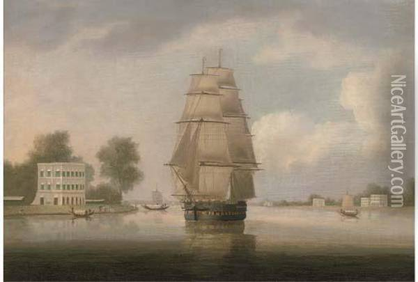 An East Indiaman On The Hooghly River In-bound For Calcutta Oil Painting - William Daniell RA