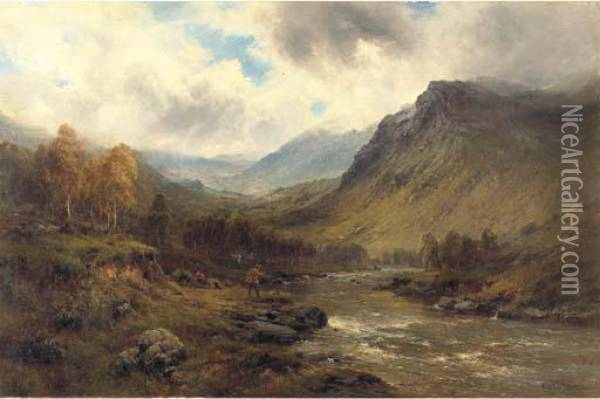 A Perthshire Salmon River Oil Painting - Alfred de Breanski
