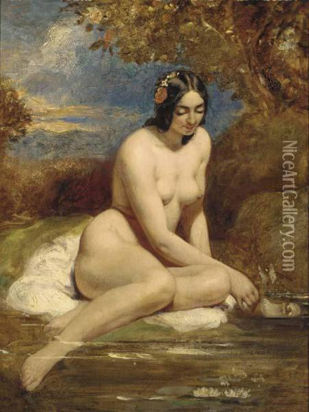 The Bather Oil Painting - William Etty