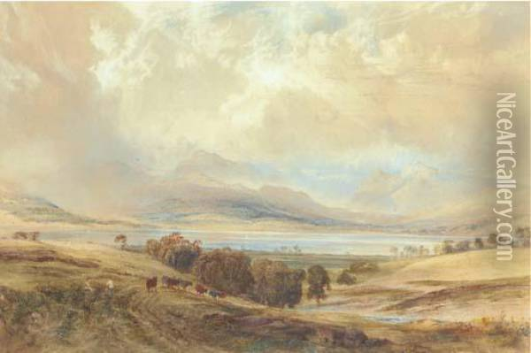 View Of Langdale Pikes And Bow Fell, Over Windermere, Westmoreland Oil Painting - Anthony Vandyke Copley Fielding