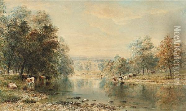 View Of Bolton Abbey From The River, Wharfedale Oil Painting - Anthony Vandyke Copley Fielding