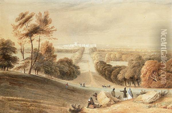 An Artist Sketching Windsor Castle From Windsor Great Park Oil Painting - Anthony Vandyke Copley Fielding