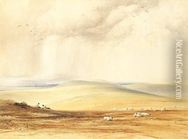 A Showery Day On The South Downs Oil Painting - Anthony Vandyke Copley Fielding