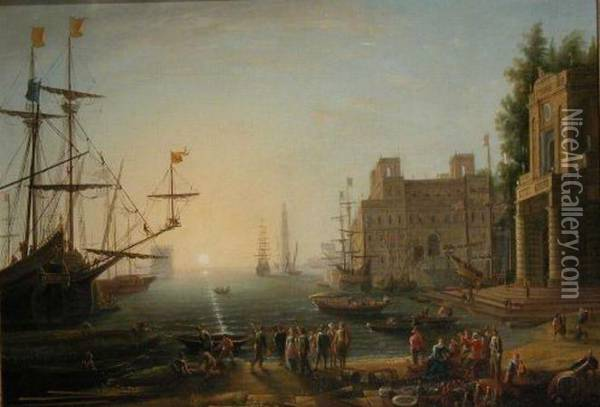 Busy Harbor Oil Painting - Claude Lorrain (Gellee)