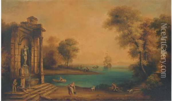 A Coastal Landscape With Shipping And Figures By A Classicalfountain Oil Painting - Claude Lorrain (Gellee)
