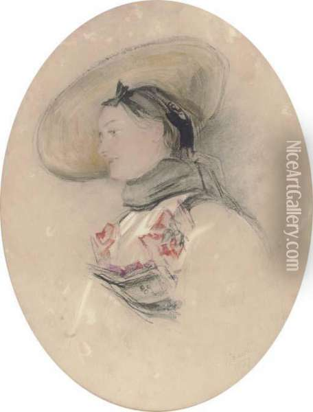 A Lady In A Straw Hat With A Black Scarf Oil Painting - John Frederick Lewis