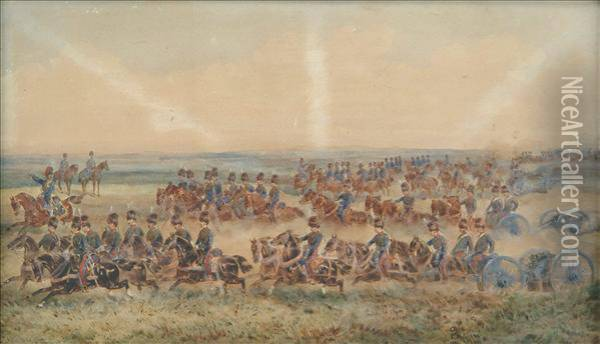 Royalhorse Artillery On Exercise Oil Painting - Orlando Norie
