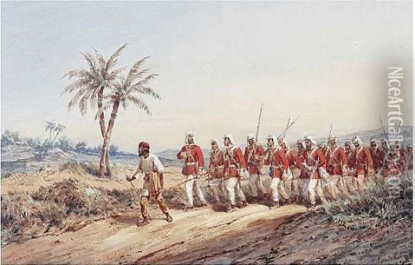 Regiment On Foot In India Oil Painting - Orlando Norie