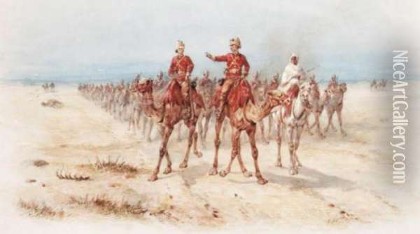 Officers Leading A Column Mounted On Camels Oil Painting - Orlando Norie