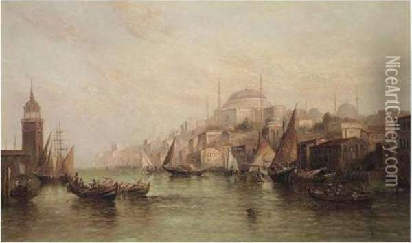 View Of Constantinople Oil Painting - Alfred Pollentine