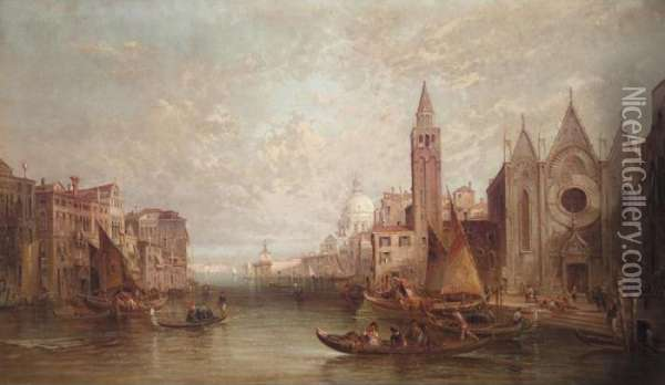 The Grand Canal Looking Towards Santa Maria Del' Salute, Venice Oil Painting - Alfred Pollentine