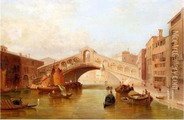 Rialto From The Grand Canal Oil Painting - Alfred Pollentine