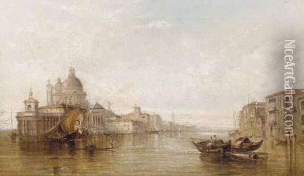 Bragozzi In The Bacino Of San Marco With Piazza San Marco Beyond Oil Painting - Alfred Pollentine
