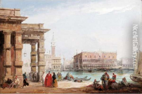A View Of The Doge's Palace, Venice Oil Painting - Edward Pritchett