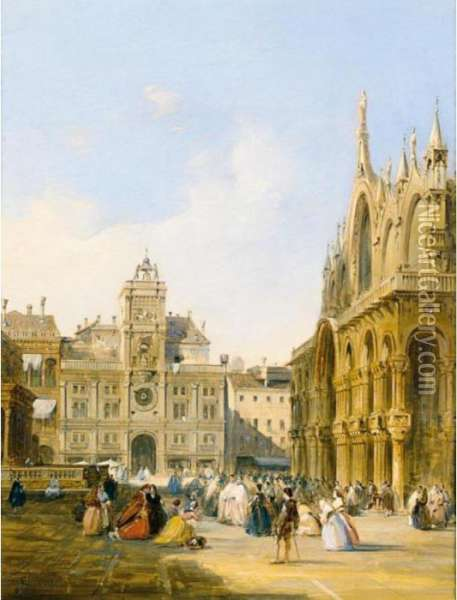 A View Of St Mark's Square Oil Painting - Edward Pritchett