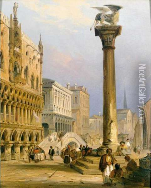 A View Of St Mark's Column, And The Doge's Palace, Venice Oil Painting - Edward Pritchett