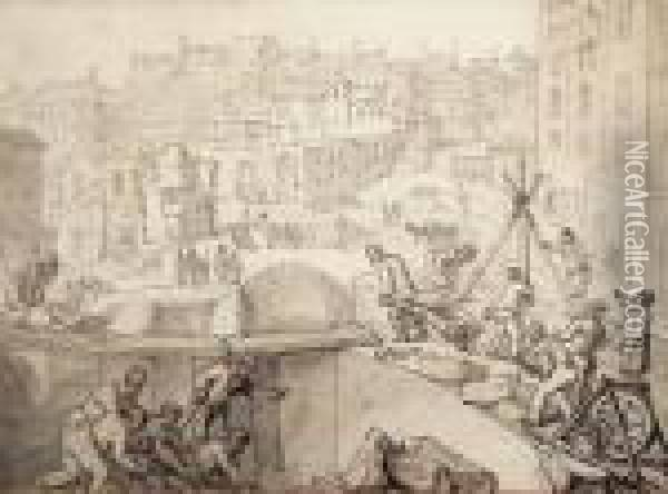 Demolition Of The Savoy Oil Painting - Thomas Rowlandson