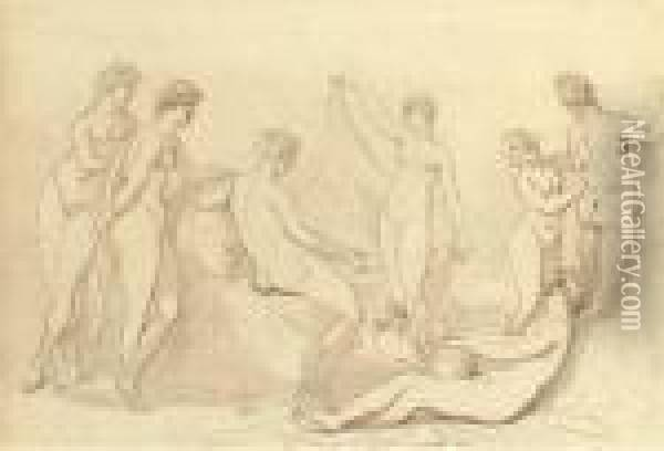 Classical Nudes Oil Painting - Thomas Rowlandson