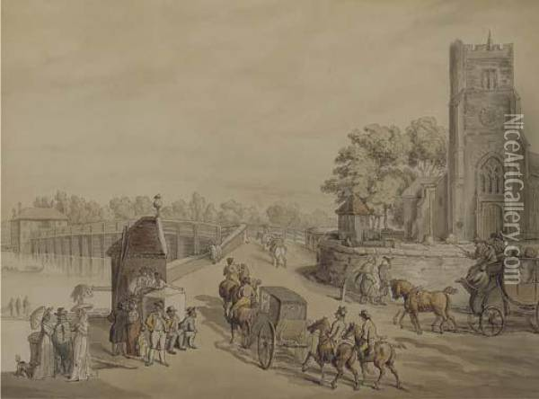 Bustling Activity Before St. Mary's Church With Putney Bridge Beyond Oil Painting - Thomas Rowlandson