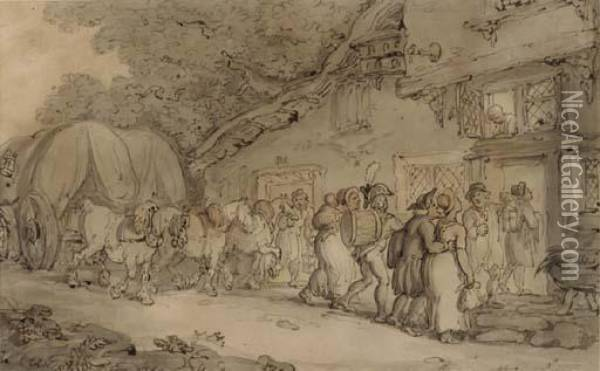 Arriving At The Inn Oil Painting - Thomas Rowlandson