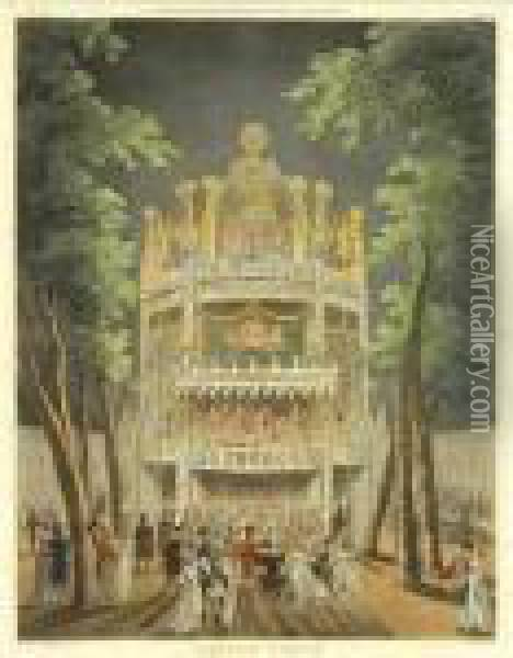 And A. Pugin. Vauxhall Garden; Lottery Drawing, Coopers Hall; Pillory, Charing Cross Oil Painting - Thomas Rowlandson