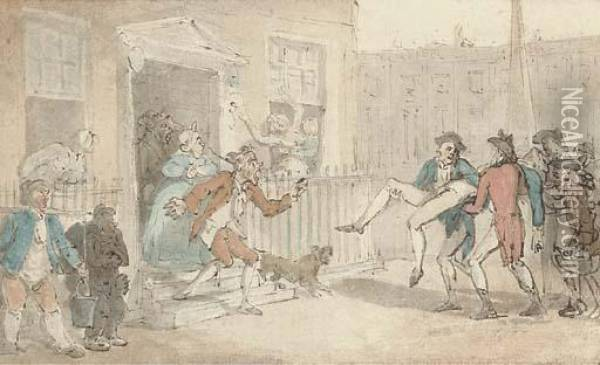 After The Duel Oil Painting - Thomas Rowlandson
