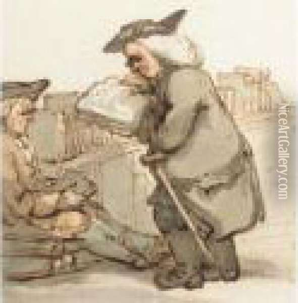 A Scholar At A Bookstall Oil Painting - Thomas Rowlandson