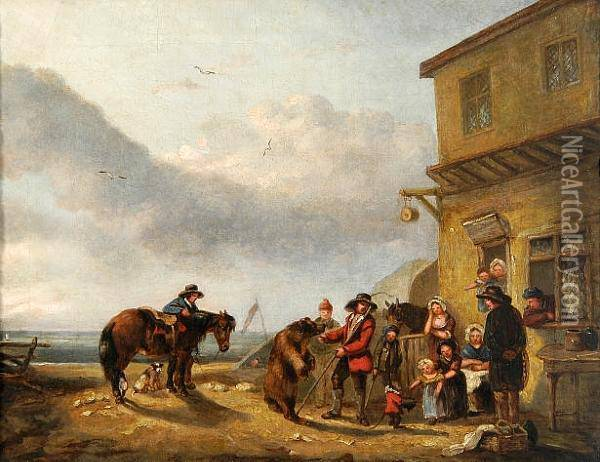 Village Scene With Figures And A Circus Bear Oil Painting - Thomas Smythe