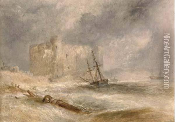 Wreckers Off A Coast With A Castle Beyond Oil Painting - Joseph Mallord William Turner