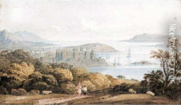 Conway Castle From Beneath Wood And Hill Oil Painting - John Varley