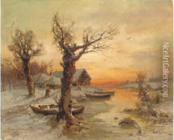 The Riverside At Winter Oil Painting - Iulii Iul'evich (Julius) Klever