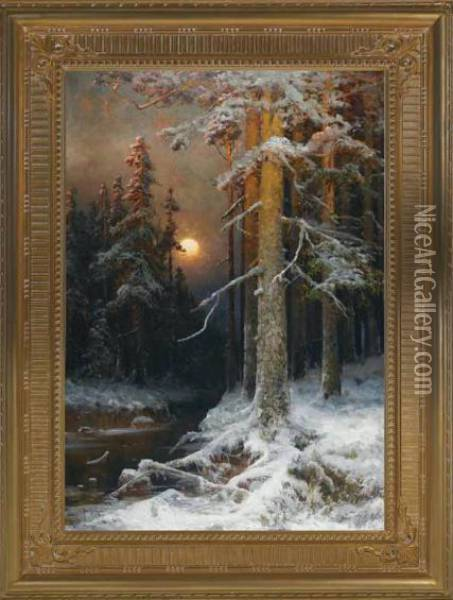 A Moonlit Forest, Winter Oil Painting - Iulii Iul'evich (Julius) Klever