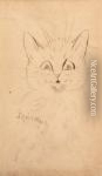 The Wide-eyed Cat Oil Painting - Louis William Wain