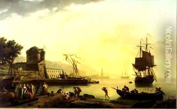 A Grand View of the Sea Shore in the Mediterranean, Enriched with Buildings Oil Painting - Claude-joseph Vernet
