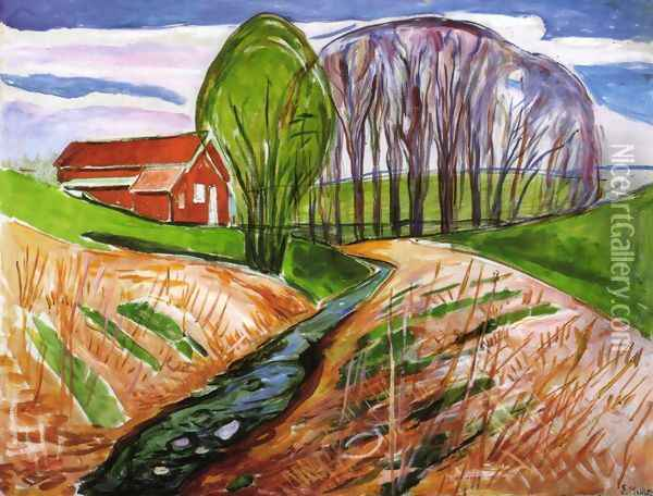 Spring landscape at the red house 1935 Oil Painting - Edvard Munch