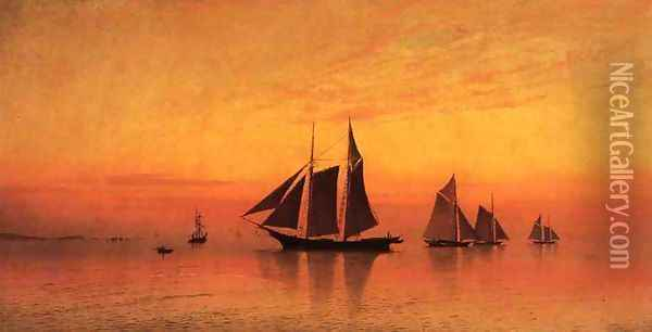 Calm at Sunset Oil Painting - Francis Augustus Silva