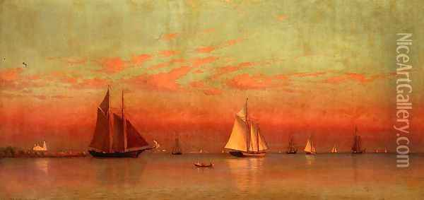 Evening in Gloucester Harbor Oil Painting - Francis Augustus Silva