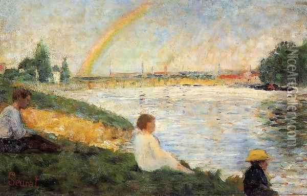 Bathing at Asnieres 4 Oil Painting - Georges Seurat