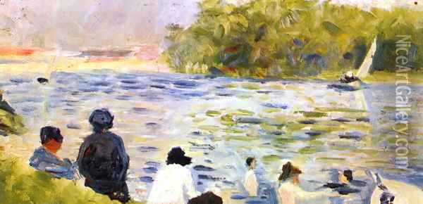 Bathing at Asnieres 7 Oil Painting - Georges Seurat
