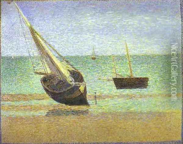 Boats. Bateux, maree basse, Grandcamp Oil Painting - Georges Seurat