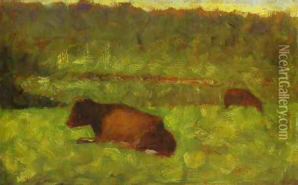 Cows in a Field Oil Painting - Georges Seurat