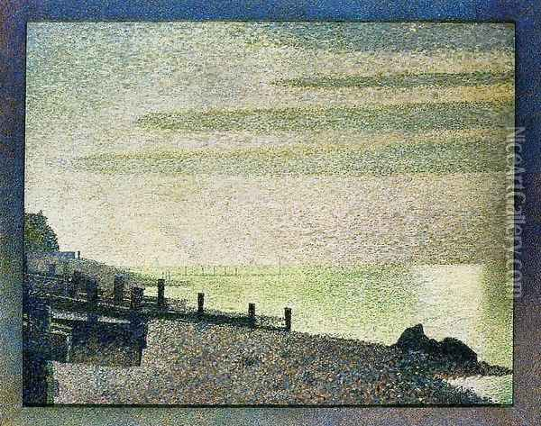 Evening at Honfleur Oil Painting - Georges Seurat