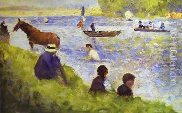 Horse and Boat Oil Painting - Georges Seurat