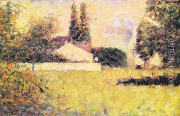 House between the trees Oil Painting - Georges Seurat
