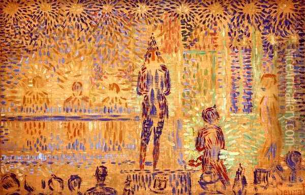 Invitation to the Sideshow (study) Oil Painting - Georges Seurat