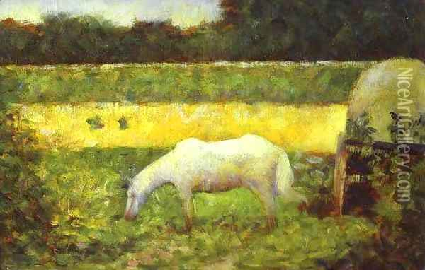 Landscape with a Horse. Oil Painting - Georges Seurat